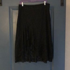 Black lace skirt with ruffles